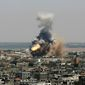 """Israeli missile strikes in Gaza on Tuesday could be the start of a long-term offensive against the Hamas-ruled territory. Palestinian President Mahmoud Abbas appealed for calm, and President Obama wrote an op-ed calling for a """"comprehensive negotiated settlement."""" (Associated Press)"""