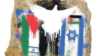 Illustration on Middle East peace by Linas Garsys/The Washington Times