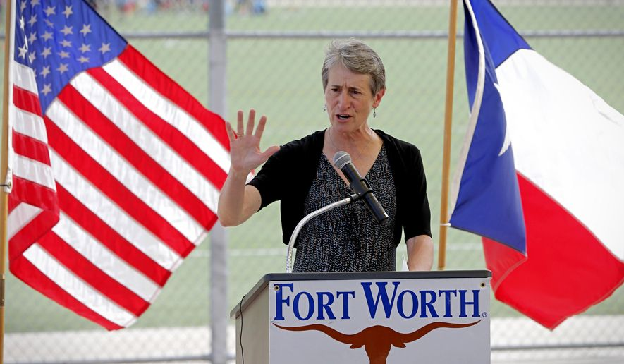 U.S. Interior Secretary Sally Jewell joins speaks in Gateway Park on Tuesday, July 8, 2014, in Fort Worth, Texas. Jewell has announced that more than $43 million will be distributed from a federal fund for recreation and conservation projects nationwide. Jewell joined Fort Worth Mayor Betsy Price and other officials to announce the distribution from the Land and Water Conservation Fund. (AP Photo/Fort Worth Star-Telegram, Star-Telegram)