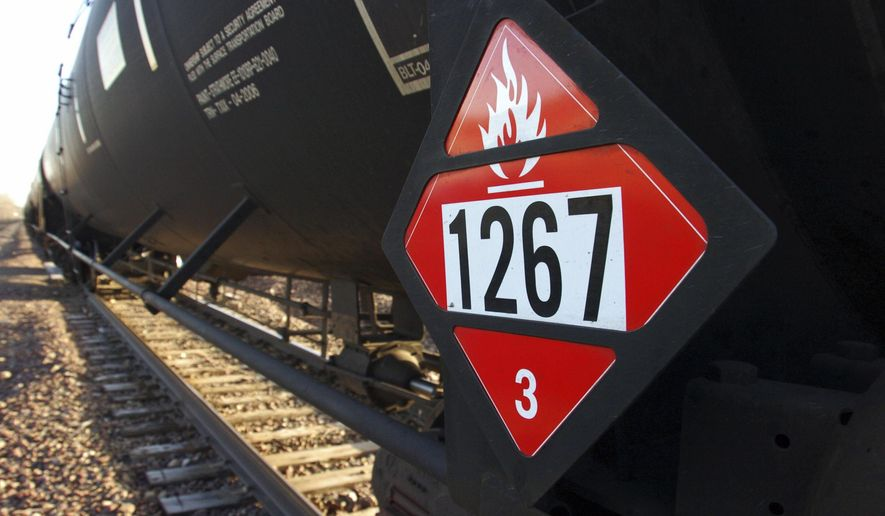 FILE - This Nov. 6, 2013 file photo shows a warning placard on a tank car carrying crude oil near a loading terminal in Trenton, N.D. BNSF Railway is regularly hauling three trains a week loaded with crude oil through the Sioux Falls, S.D., area, but those are the only shipments of crude from North Dakota's Bakken region crossing the state, according to records released by the South Dakota Department of Environment and Natural Resources Wednesday, July 9, 2014. (AP Photo/Matthew Brown, File)