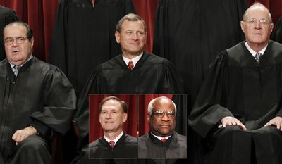 The justices of the U.S. Supreme Court gather for a group portrait at the Supreme Court Building in Washington, Friday, Oct. 8, 2010. : Associate Justice Antonin Scalia, Chief Justice John G. Roberts, Associate Justice Anthony M. Kennedy. Inset:  Associate Justice Samuel Alito Jr., Associate Justice Clarence Thomas (AP Photo/Pablo Martinez Monsivais)