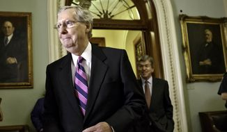 ** FILE ** This June 24, 2014, file photo shows Senate Minority Leader Mitch McConnell of Ky. on Capitol Hill in Washington. (AP Photo/J. Scott Applewhite, File)
