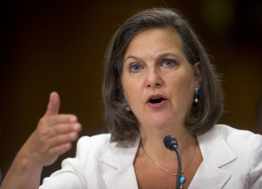 Assistant Secretary of State Victoria Nuland testifies on Capitol Hill in Washington, Wednesday, July 9, 2014, before the Senate Foreign Relations Committee hearing to examine Russia and developments in Ukraine.  (AP Photo/Pablo Martinez Monsivais)