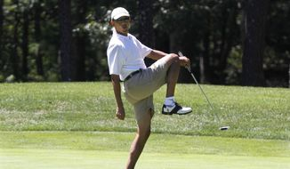 President Obama golfs at Farm Neck Golf Club in Oak Bluffs, Mass. (AP Photo/Jacquelyn Martin) ** FILE **