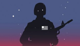Illustration on guarding the southern border and national security by Linas Garsys/The Washington Times