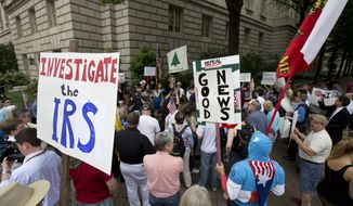 Tea Party supporters gather for a rally outside the IRS headquarter in Washington, Tuesday, May 21, 2013. A few dozen tea party activists and their supporters have gathered outside the IRS headquarters in Washington to protest extra scrutiny of their organizations. (Associated Press) **FILE**