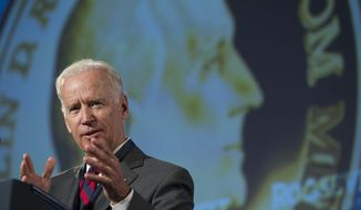 Vice President Joe Biden addresses the Roosevelt Institute Honors after receiving the group's Freedom Medal, the institutes highest honor, during a dinner in Washington, Thursday, July 10, 2014. (AP Photo/Cliff Owen)