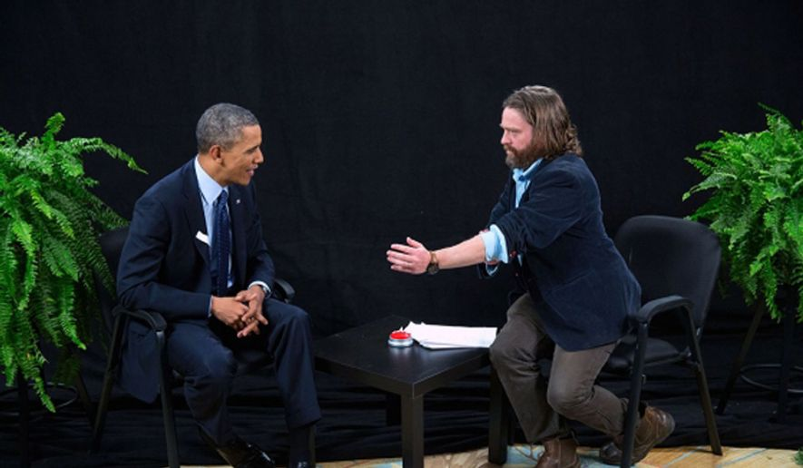 "President Barack Obama participates in an interview with Zach Galifianakis for ""Between Two Ferns with Zach Galifianakis,"" in the Diplomatic Reception Room of the White House, Feb. 24, 2014. (Official White House Photo by Pete Souza)"