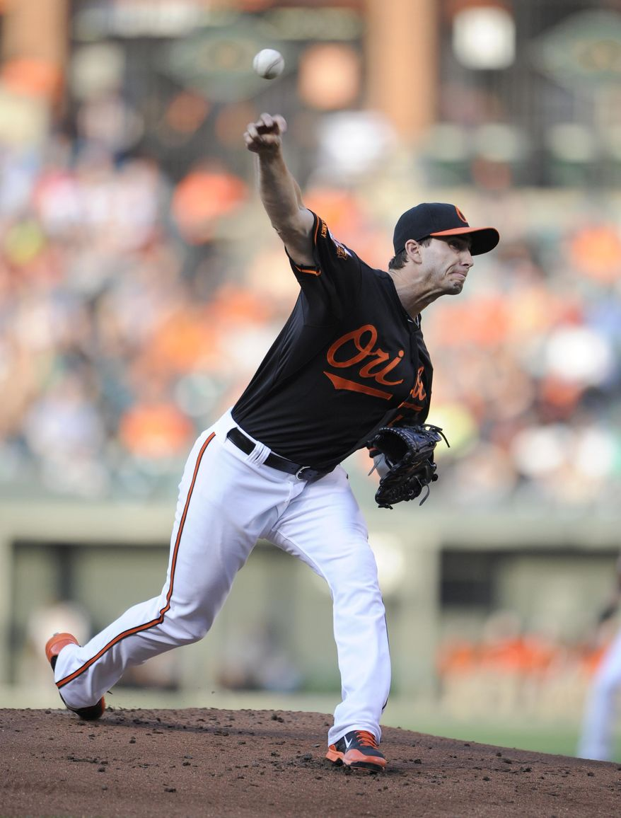 Baltimore Orioles starting pitcher Miguel Gonzalez delivers a pitch against the New York Yankees during the first inning of a baseball game, Friday, July 11, 2014, in Baltimore. (AP Photo/Nick Wass)