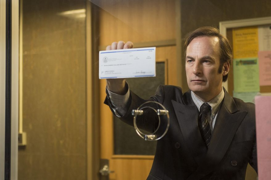 "This photo released by AMC shows Bob Odenkirk as Saul Goodman in a scene from ""Better Call Saul,"" slated to premiere in February. (AP Photo/AMC, Ursula Coyote)"