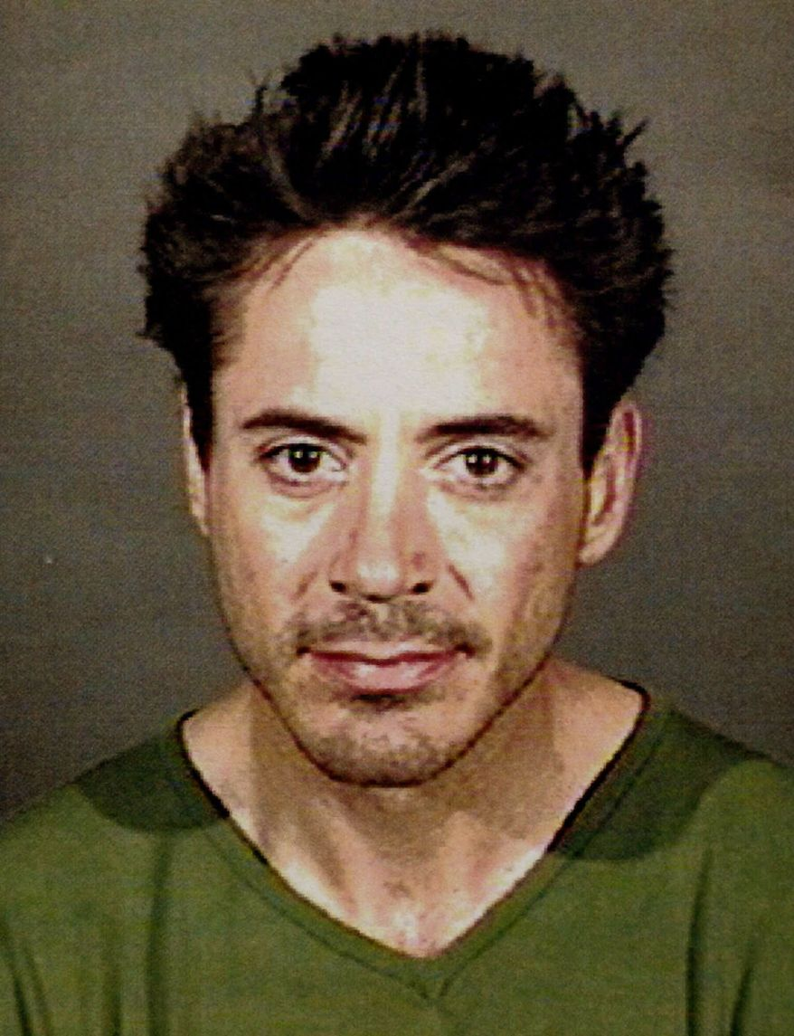 ROBERT DOWNEY JR. - Actor Robert Downey Jr. is shown in a police photo Tuesday, April 24, 2001, after he was arrested and booked for investigation of being under the influence of a controlled substance. Downey was on foot at 12:10 a.m. in the city southwest of Los Angeles, Lt. Dave Tankenson said. There were no details about the actor's behavior that led to his arrest, and the type of suspected drug wasn't immediately known. (AP Photo/Culver City Police Department)