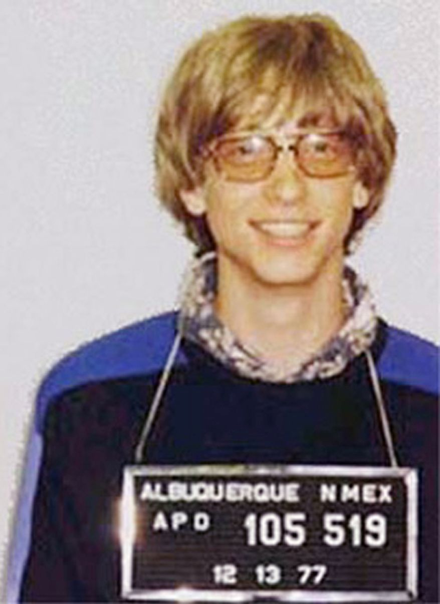 BILL GATES - Microsoft's Bill Gates was arrested by the Albuquerque, New Mexico police in 1977 after a traffic violation.