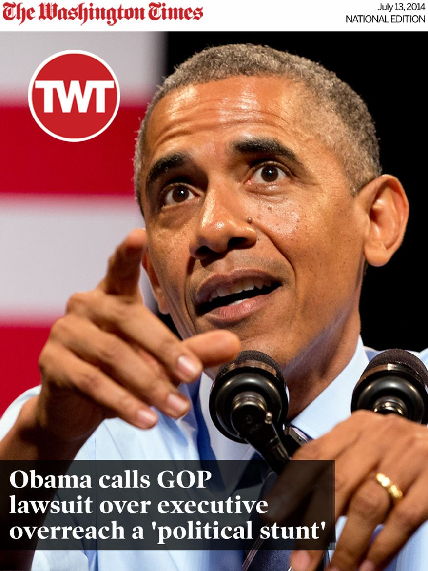 National Edition News cover for July 13, 2014 - Obama calls GOP lawsuit over executive overreach a 'political stunt': President Barack Obama speaks at the Paramount Theatre in Austin, Texas, Thursday, July 10, 2014, about the economy. Austin is the final leg in his three city trip before returning to Washington. (AP Photo/Jacquelyn Martin)