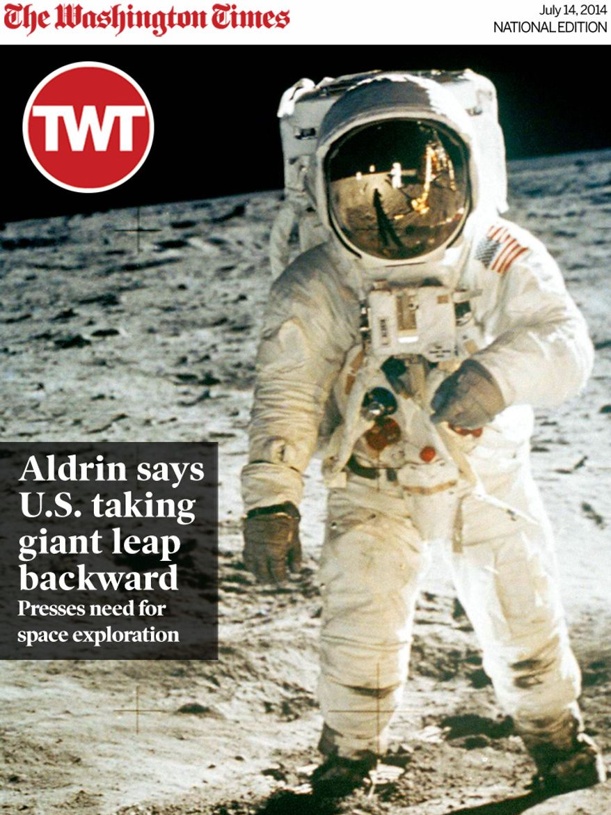 National Edition News cover for July 14, 2014 - Aldrin says U.S. taking giant leap backward: FILE - In this July 20, 1969 file photo from NASA, Astronaut Edwin E. Aldrin Jr., lunar module pilot, is photographed by Neil Armstrong walking near the lunar module during the Apollo 11 extravehicular activity. (AP Photo, NASA ,file)