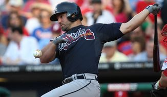 Atlanta Braves' Dan Uggla in action during a baseball game against the Philadelphia Phillies, Friday, June 27, 2014, in Philadelphia. (AP Photo/Laurence Kesterson)