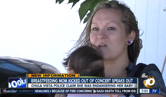 Megan Christopherson says she was escorted by police out of Brad Paisley's concert at Sleep Train Amphitheatre in Chula Vista, California, Thursday night because she was breastfeeding her baby in the pit area. (ABC 10 News)
