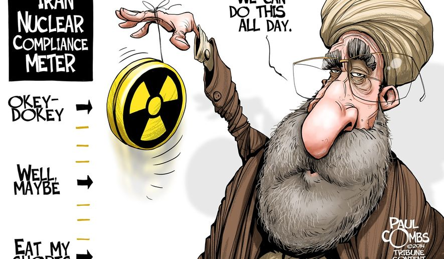The Iran Nuclear Compliance Meter (Illustration by Paul Combs of the Tribune Media Services)