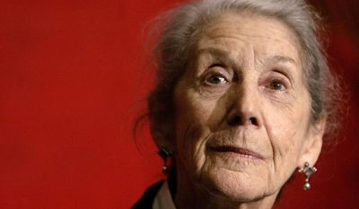 FILE - This is a Sunday, Nov. 26, 2006 file photo of Nobel Prize-winning author Nadine Gordimer, of South Africa,  as she listens to a question during a news conference on the Guadalajara International Book Fair at Guadalajara's Expo  in Mexico. Gordimer died in her sleep in Johannesburg, Sunday July 13, 2014, aged 90. (AP Photo/Guillermo Arias, File)