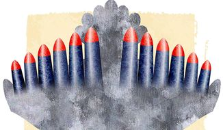 Mideast Peace Missile and Dove Illustration by Greg Groesch/The Washington Times