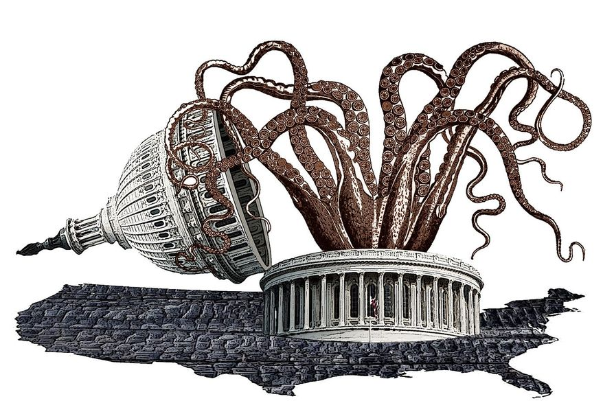 Illustration on the growth of government spending by Alexander Hunter/The Washington Times