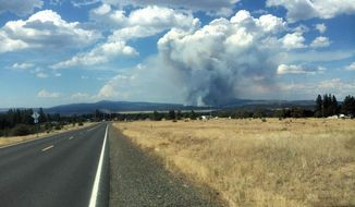 In this photo provided by South Central Oregon Fire Management Partnership, smoke from a fire is seen Sunday, July 13, 2014, near Moccasin Hill, Ore. Officials say a fast-growing wildfire in southern Oregon has destroyed homes and forced dozens of evacuations. (AP Photo/South Central Oregon Fire Management Partnership)