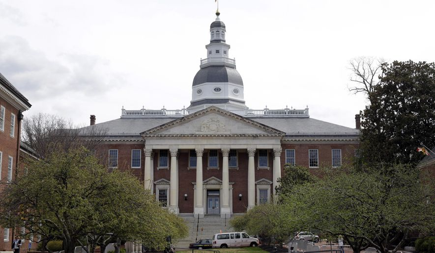 This April 8, 2014, file photo shows a general view of the Maryland State House in Annapolis. (AP Photo/Patrick Semansky) ** FILE **