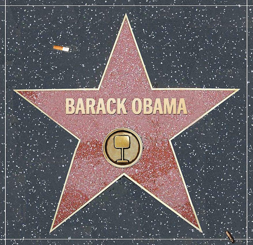 Illustration on Hollywood's love affair with Barack Obama by Alexander Hunter/The Washington Times