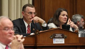 House Oversight and Investigations subcommittee Chairman, Rep. Tim Murphy, R-Pa., and ranking member Rep. Diana DeGette, D-Colo., right, listen to testimony on Capitol Hill in Washington, Wednesday, July 16, 2014, during a hearing on the incident last month at a Centers for Disease Control and Prevention lab that handles bioterrorism agents. (AP Photo/Lauren Victoria Burke) ** FILE **