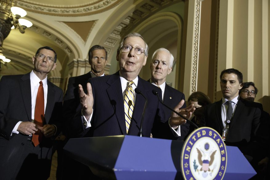 Senate Minority Leader Mitch McConnell of Ky., center, talks to reporters about competing bills from the Democrats and Republicans on employee health coverage and birth control under the Affordable Care Act, a subject that the Supreme Court ruled on recently in the so-called Hobby Lobby case, Tuesday, July 15, 2014, during a news conference on Capitol Hill in Washington. From left are, Sen. John Barrasso, R-Wyo., Sen. John Thune, R-S.D., McConnell and Senate Minority Whip John Cornyn of Texas.  (AP Photo/J. Scott Applewhite)