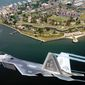 ** FILE ** Lt. Col. James Hecker flies over Fort Monroe before delivering the first operational F-22A Raptor to its permanent home at Langley Air Force Base, Va., on May 12, 2005 (U.S. Air Force)