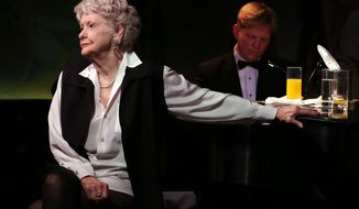 FILE - This April 2, 2013 file image released by the O+M Company shows Elaine Stritch performing her final engagement at the Cafe Carlyle in New York with Rob Bowman at the piano. Stritch died Thursday, July 17, 2014 at her home in Birmingham, Mich. She was 89. (AP Photo/The O+M Company, Walter McBride, File)