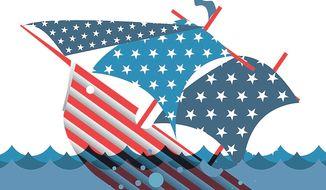 Illustration on Obama's leading America into crisis by Linas Garsys/The Washington Times