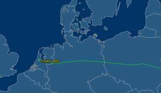 The final flight path of Malaysia Airlines Flight 17 as tracked by Flight Aware.