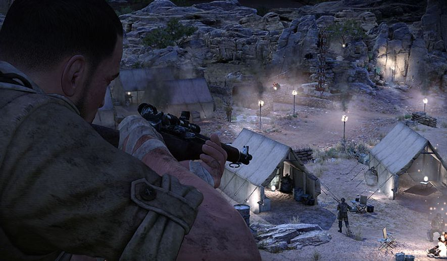 American OSS officer, Karl Fairburne prepares to take out enemy soldiers in the third person shooter Sniper Elite III.
