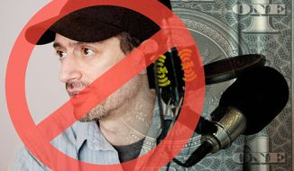Illustration on SiriusXM's recent firing of Anthony Cumia by Alexander Hunter/The Washington Times