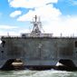 Littoral Combat Ship USS Independence (LCS 2) arrives at Joint Base Pearl Harbour-Hickham for RIMPAC 2014. (Instagram, RIMPAC)