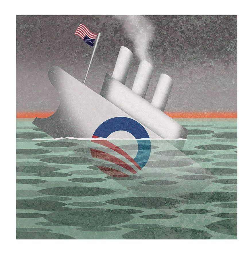 Illustration on the failing Obama administration by Alexander Hunter/The Washington Times