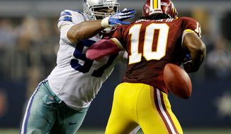 The Redskins signed former Dallas Cowboys defensive end Jason Hatcher to a four-year, $27.5 million contract in March in an effort to increase their pass rush. (Associated Press)