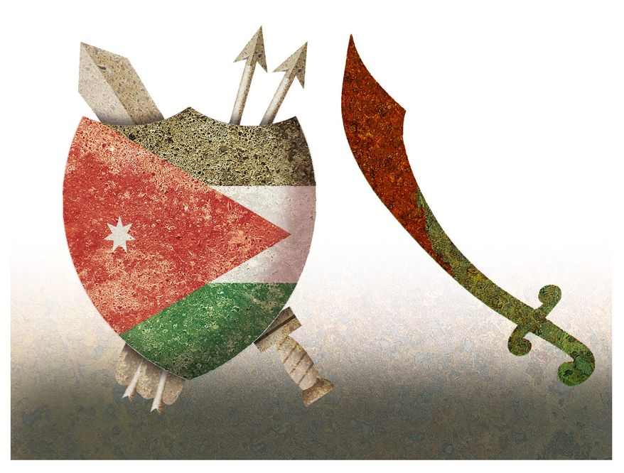 Illustration on ISIS's threat to Jordan by Alexander Hunter/The Washington Times