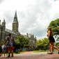 Students make their way along the Georgetown University campus, Washington, D.C., Tuesday, July 22, 2014. (Andrew Harnik/The Washington Times) **FILE**