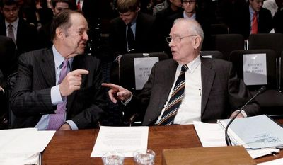 Former New Jersey Republican Gov. Thomas H. Keane (left) and former Rep. Lee H. Hamilton, Indiana Democrat, have overseen a follow-up to the 9/11 Commission Report.  (Associated Press)
