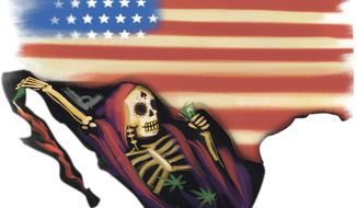 Illustration on the dangers coming from Mexican drug cartels by Linas Garsys/The Washington Times