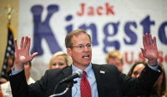 Georgia Republican U.S. Senate candidate, Rep. Jack Kingston, delivers his concession speech after being defeated by businessman David Perdue in the primary runoff at his election night party, Tuesday, July 22, 2014, in Atlanta. (AP Photo) ** FILE **