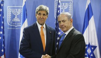 U.S. Secretary of State John Kerry, left, meets with Israeli Prime Minister Benjamin Netanyahu in Tel Aviv, Israel, Wednesday, July 23, 2014. (Associated Press) ** FILE **
