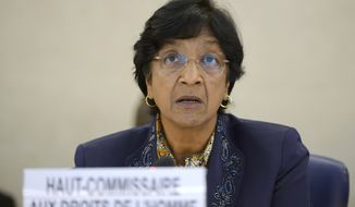 UN High Commissioner for Human Rights, South African Navi Pillay, addresses the United Nations Human Rights Council at the UN headquarters in Geneva, Switzerland, Wednesday, July 23, 2014. Pillay opened an emergency debate in the 47-nation U.N. Human Rights Council with an assessment that around three-quarters of the 650 Palestinians and 31 Israelis killed in the conflict were civilians, and thousands more have been injured. (AP Photo/Keystone, Martial Trezzini)