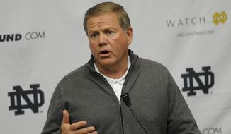 **FILE** Notre Dame football coach Brian Kelly talks to the media as spring football practice begins Friday, Feb. 28, 2014 in South Bend, Ind. (AP Photo/Joe Raymond)
