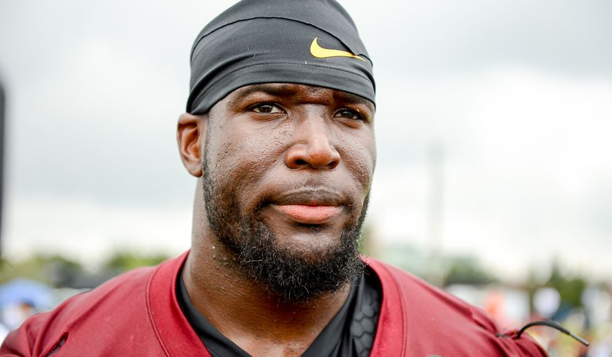 Washington Redskins outside linebacker Brian Orakpo (98) speaks to members of the media following morning practice on the opening day of Washington Redskins Training Camp at Bon Secours Training Center, Richmond, Va., Thursday, July 24, 2014. (Andrew Harnik/The Washington Times)
