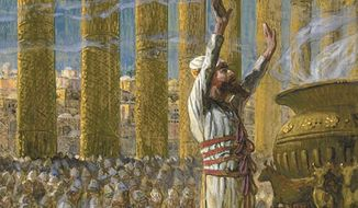 An artist's rendering of priests' making offering on the steps of Solomon's Temple                                     From a painting by James Tissot