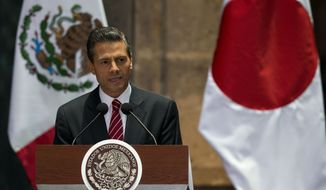 Mexico's President Enrique Pena Nieto addresses Mexican and Japanese press and dignitaries, during  Japanese Prime Minister Shinzo Abe's oficial visit at the National Palace in Mexico City, Friday, July 25, 2014.  (AP Photo/Rebecca Blackwell)