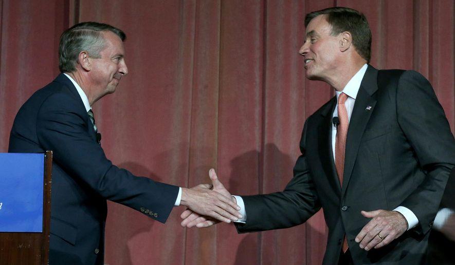 Republican Ed Gillespie, left, and Sen. Mark Warner, right. (Associated Press) ** FILE **